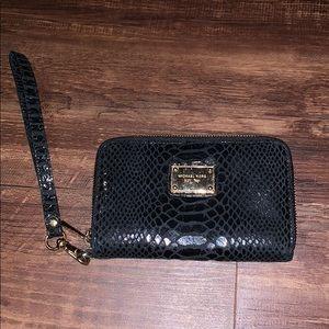 Michael Kors black snake skin print wallet
